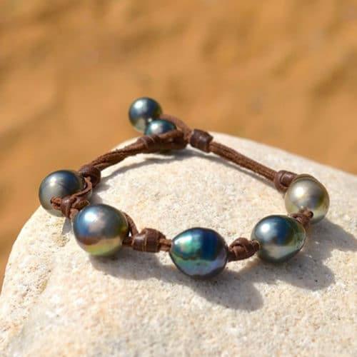 Bracelet 5 baroque Tahitian Pearls