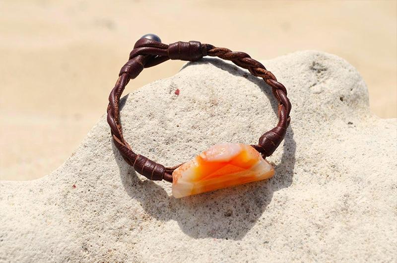 Bracelet agate et perle de Tahiti