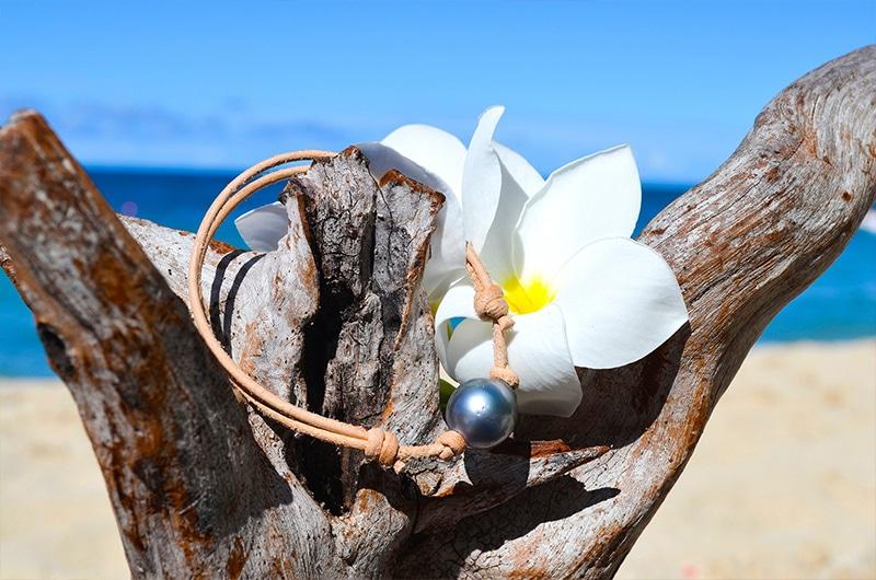 Bracelet ajustable cuir perle cerclée de Tahiti - 13mm