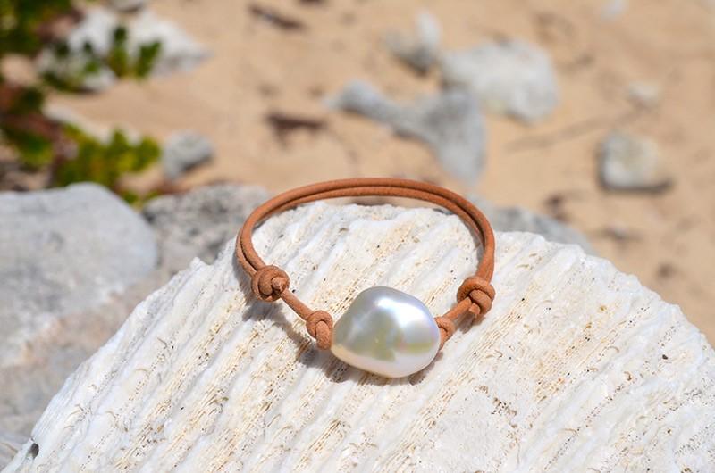 Bracelet ajustable une Keishi d'eau douce
