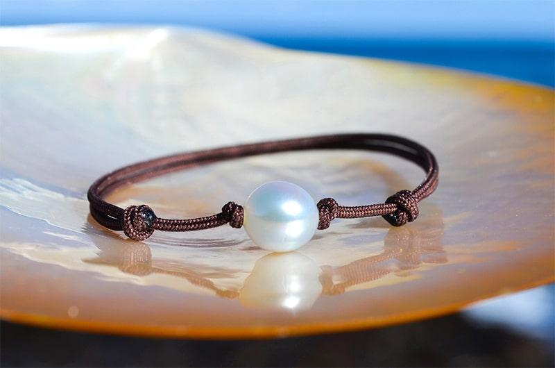 Bracelet ajustable une perle blanche d'Australie (8,5mm)