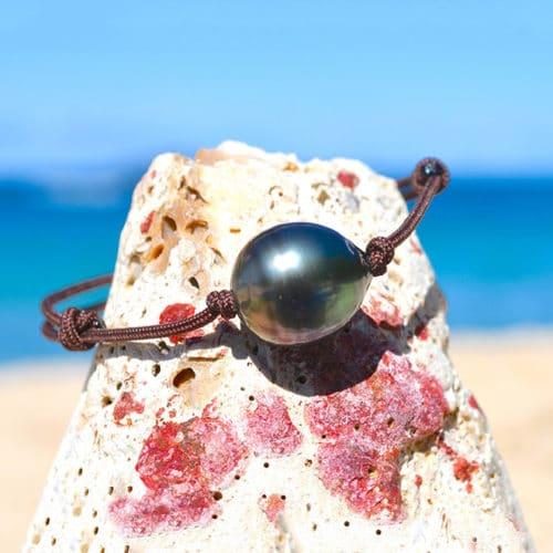 Bracelet ajustable perle cerclée de Tahiti - 13mm