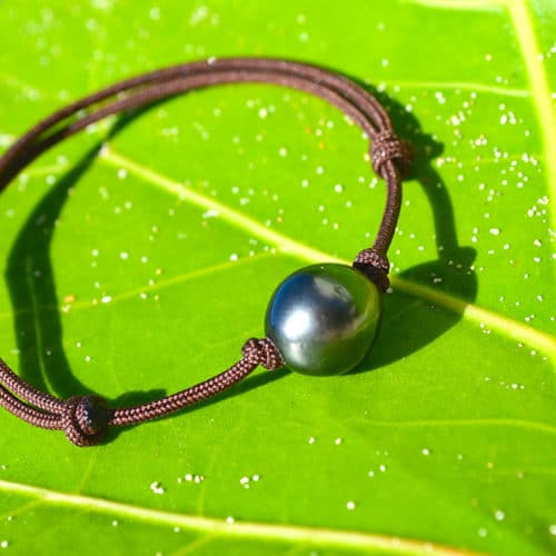 Bracelet ajustable une perle de Tahiti (10mm)