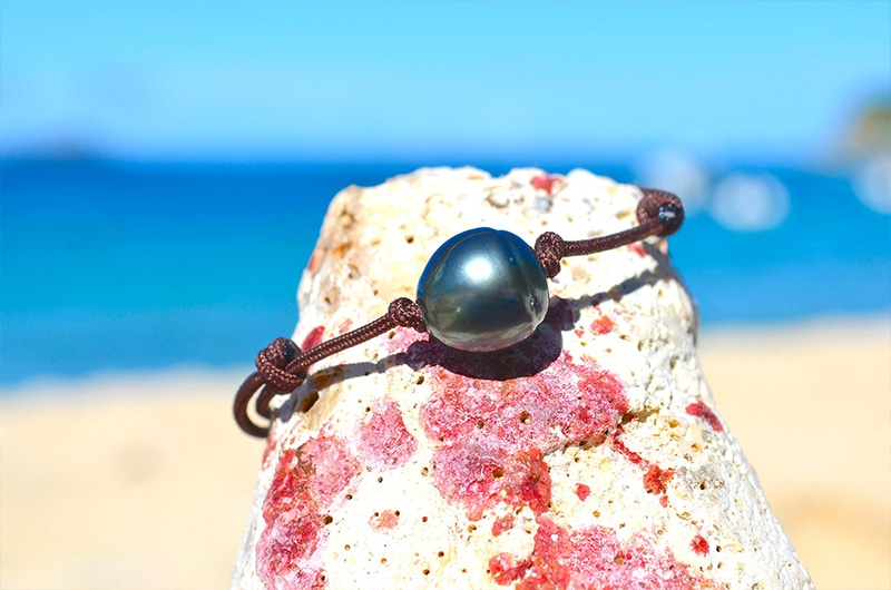 Bracelet ajustable une perle de Tahiti (11,5mm)