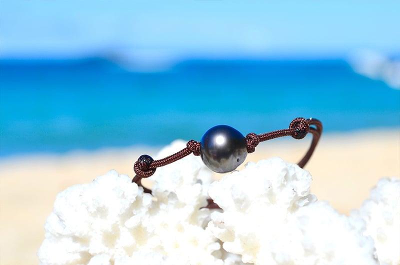 Bracelet ajustable une perle de Tahiti (9,5mm)