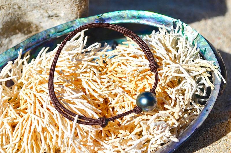 Bracelet ajustable une perle de Tahiti (9mm)