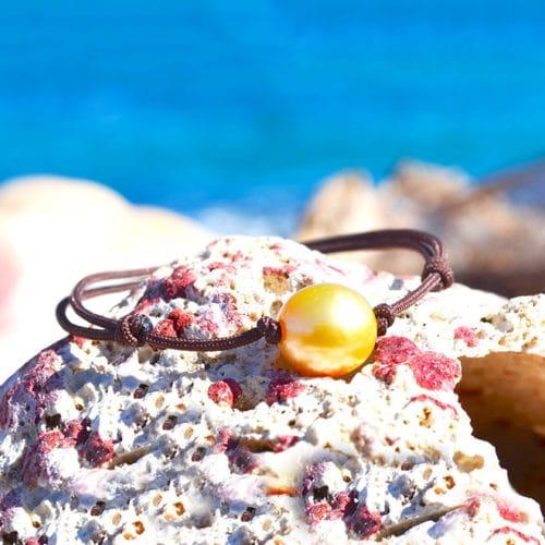 Bracelet ajustable perle dorée d'Australie - 11.5mm
