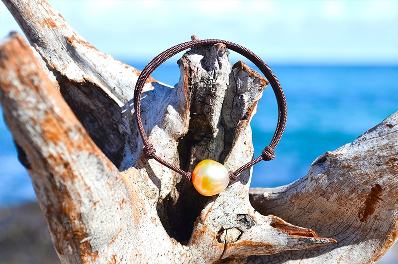 Bracelet ajustable perle dorée d'Australie - 12mm