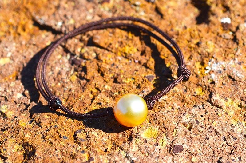 Bracelet ajustable perle dorée d'Australie - 9mm