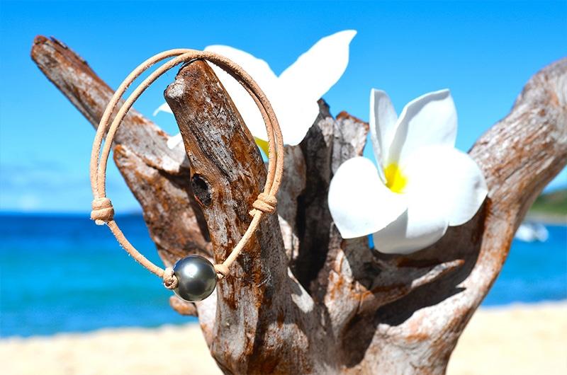 Bracelet ajustable perle ronde de Tahiti - 12,5mm