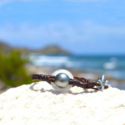 Bracelet braided mother-of-pearl ring, Tahitian pearl and Keishis