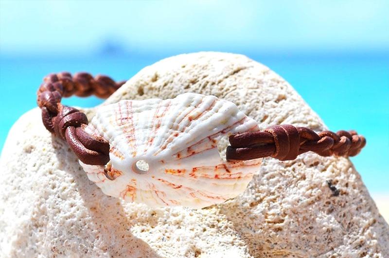 Bracelet coquillage blanc et perle de Tahiti