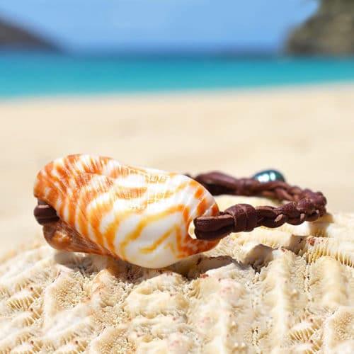 Bracelet coquillage orange et perle de Tahiti