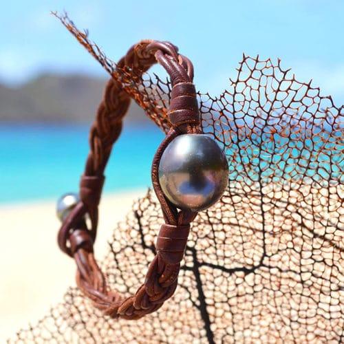 Bracelet large tressé une perle de Tahiti