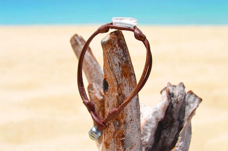 Bracelet perle de Tahiti et cristal de roche