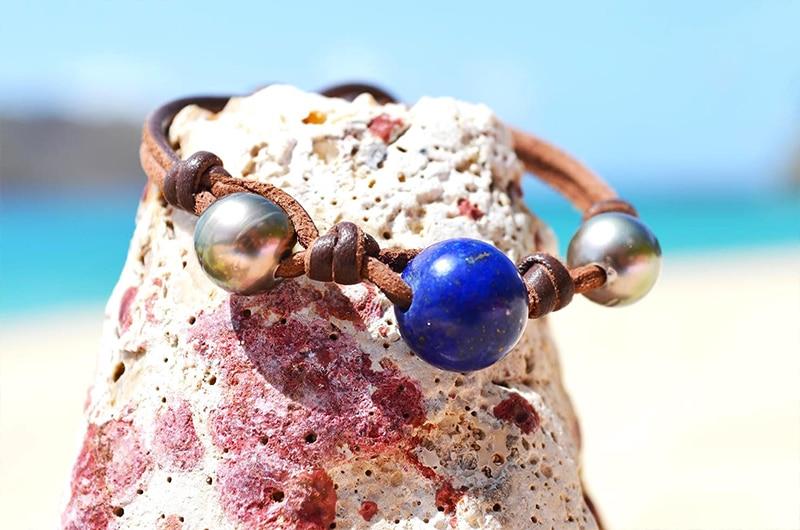 Bracelet perles de Tahiti et Lapis Lazuli