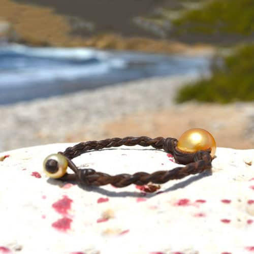 Bracelet tressé 1 perle dorée d'Australie