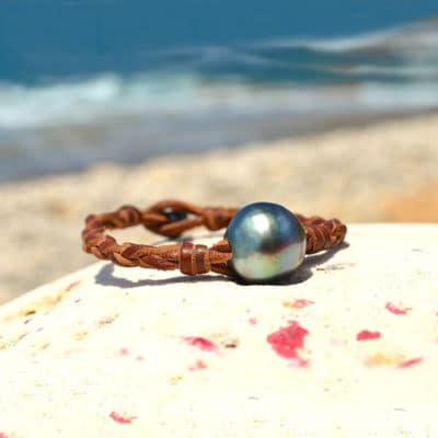 Bracelet tressé 1 perle baroque de Tahiti