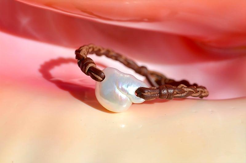 Bracelet tressé 1 perle d'eau douce