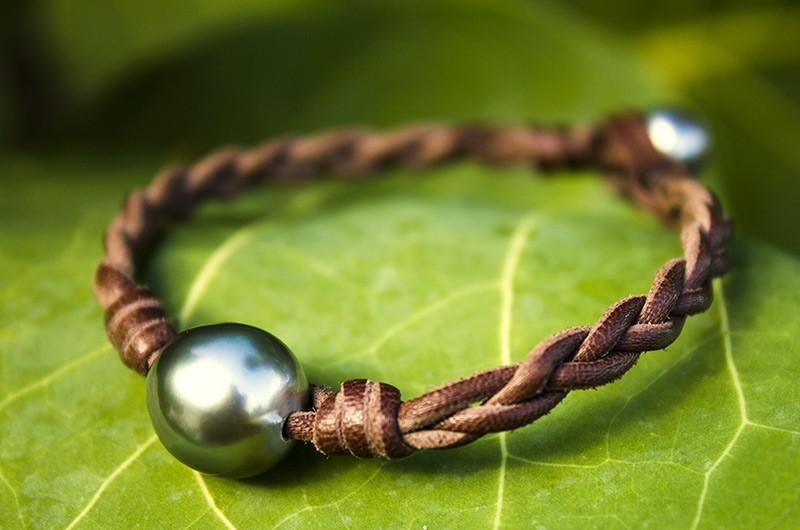 Bracelet tressé de 2 perles de Tahiti