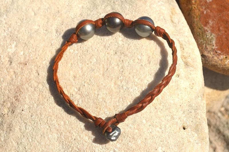 Bracelet tressé de 3 perles de Tahiti