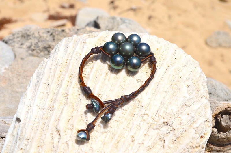 Bracelet tressé de 7 perles de Tahiti