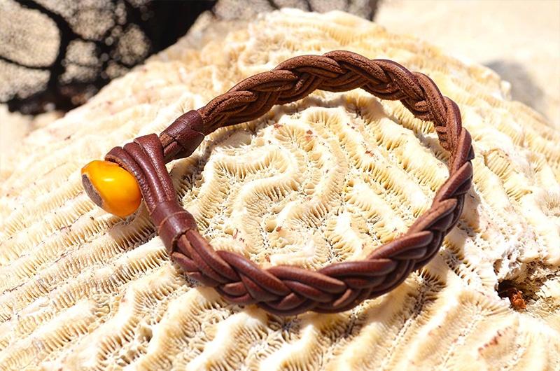 Bracelet tressé ambre
