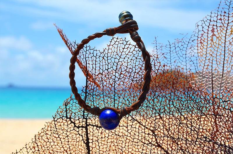 Bracelet tressé Lapis Lazuli et perle de Tahiti