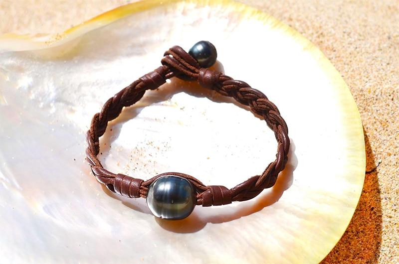 Bracelet tressé une perle de Tahiti ronde