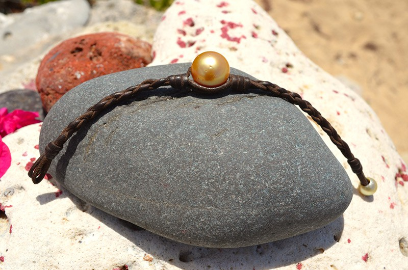 Braided bracelet 1 Golden Australian Pearl