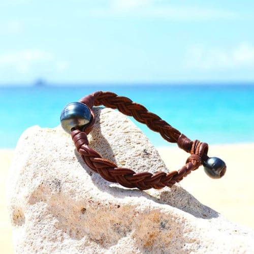 Braided bracelet 1 Round Tahitian Pearl