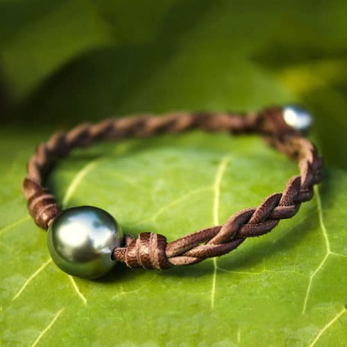 Braided bracelet 2 Tahitian pearls