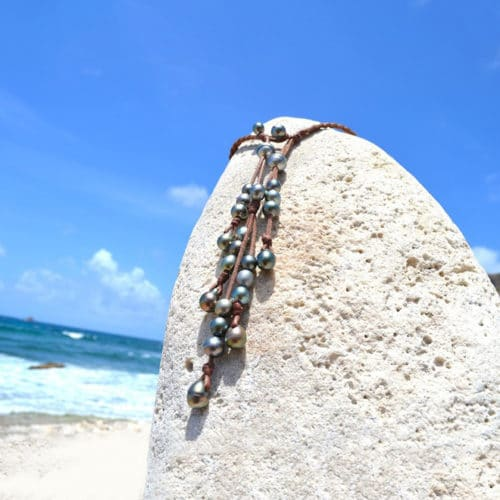 Braided Necklace 25 Tahitian Pearls