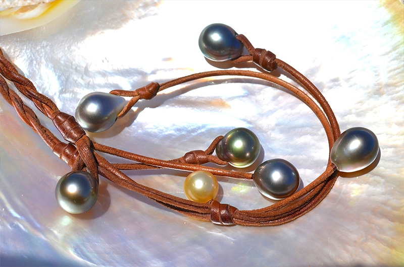 Braided Necklace Tahitian and Australian Pearls