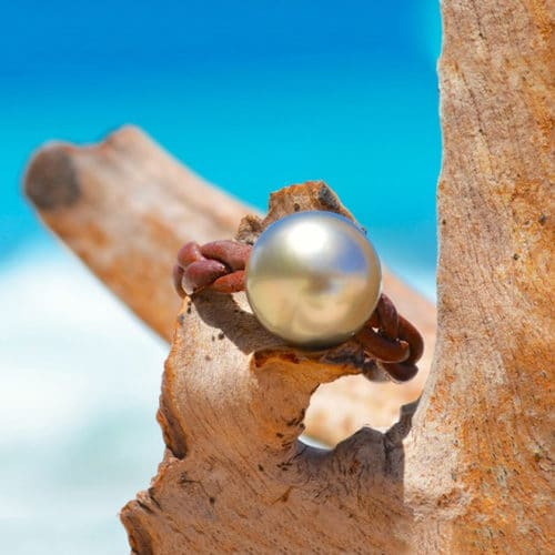 Braided ring 1 Tahitian pearl - 11.5mm