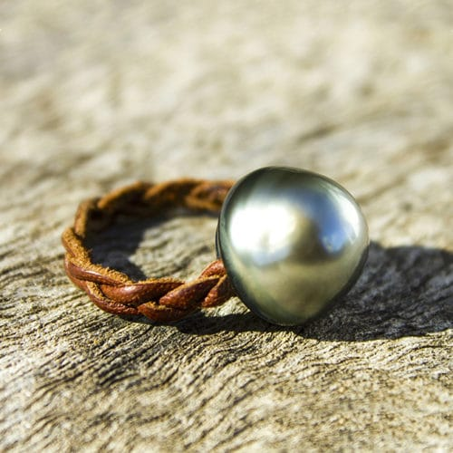 Braided ring 1 Tahitian pearl - 14.5mm
