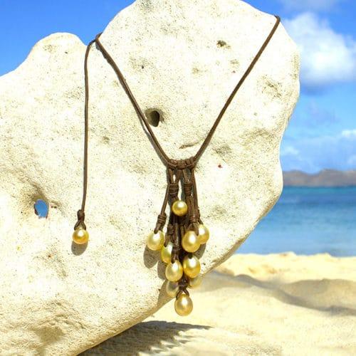 Collier grappe 11 perles dorées d'Australie