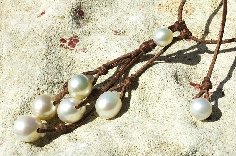 Collier grappe 7 perles d'Australie