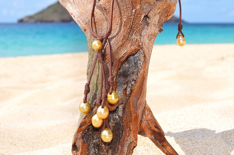 Collier grappe 7 perles d'Australie semi-baroques