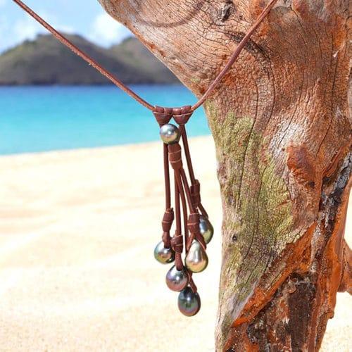 Collier grappe 7 perles de Tahiti