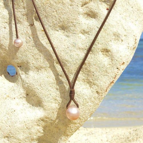 Collier pendentif 2 perles rose d'eau douce - 15mm