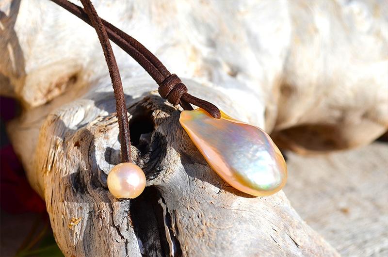 Collier pendentif 2 perles rose d'eau douce - 9mm
