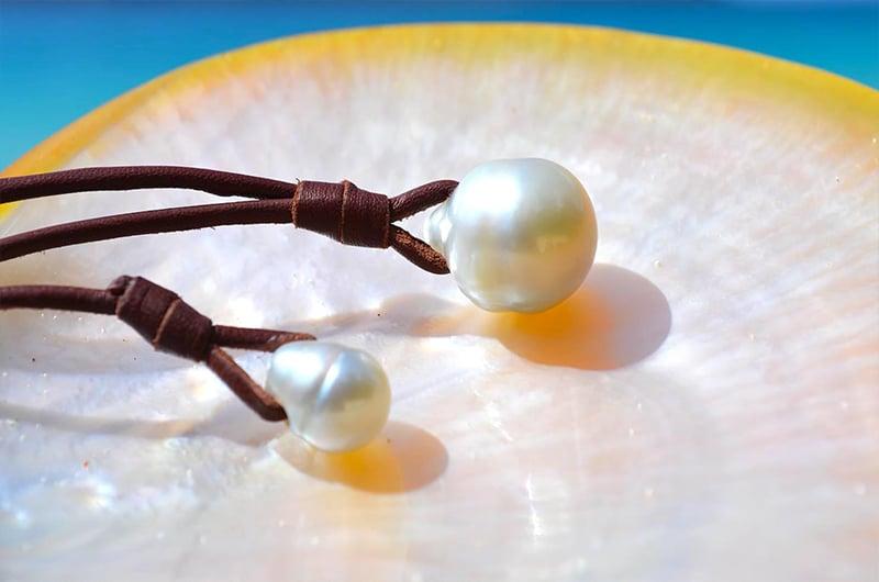 Collier pendentif perle blanche d'Australie