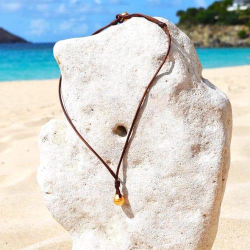 Collier pendentif perle dorée d'Australie