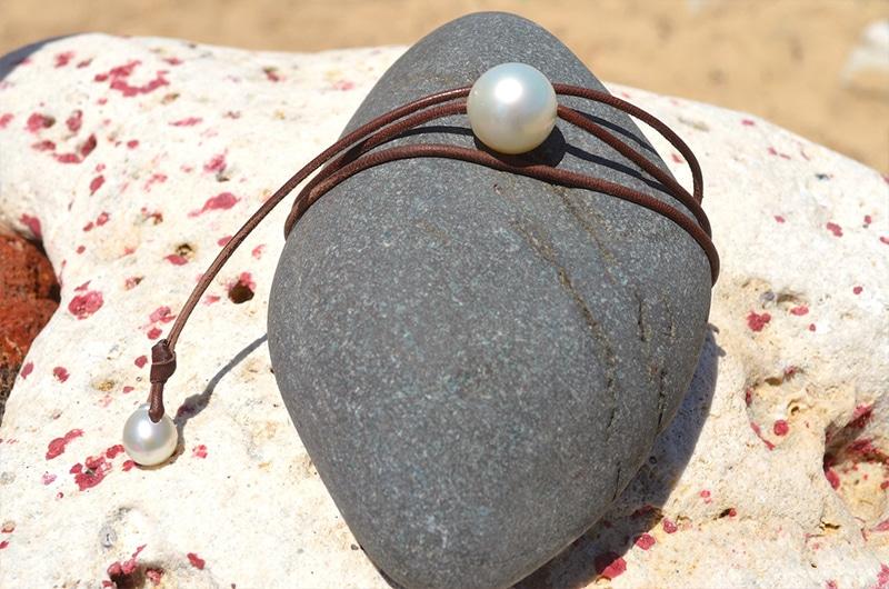 Collier une perle d'Australie blanche
