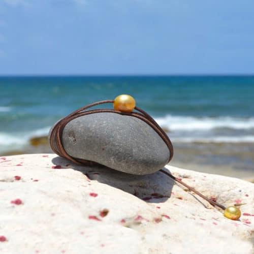 Collier une perle d'Australie dorée