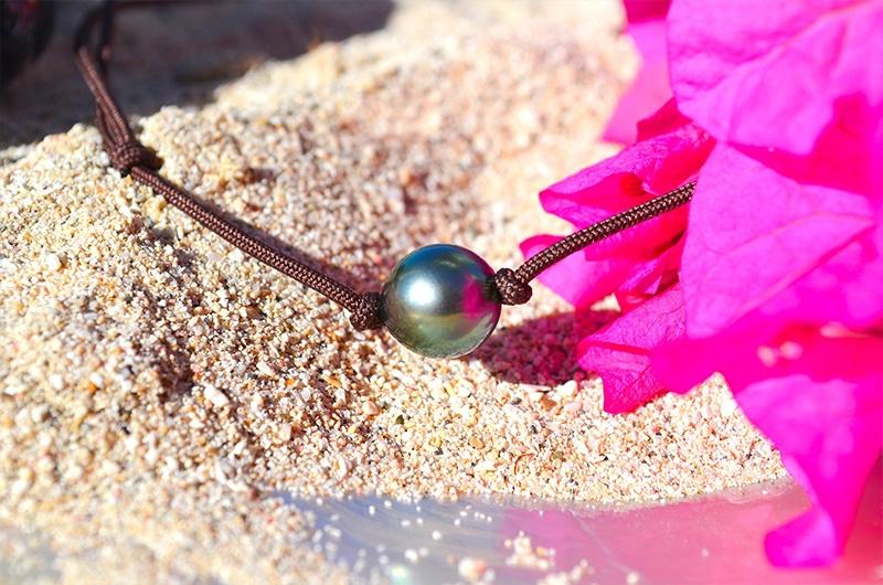 Collier ras du cou perle semi-ronde de Tahiti - 9.5mm