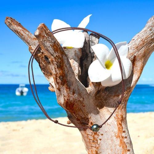 Collier ras du cou une perle de Tahiti - 9mm