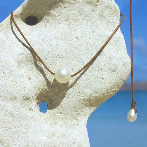 Collier raz du cou une perle d'Australie blanche