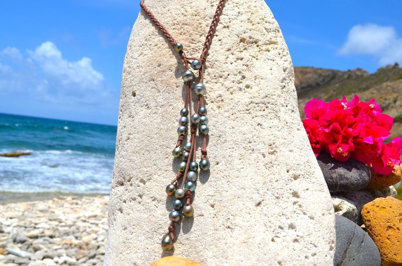 Collier tressé de 25 perles de Tahiti